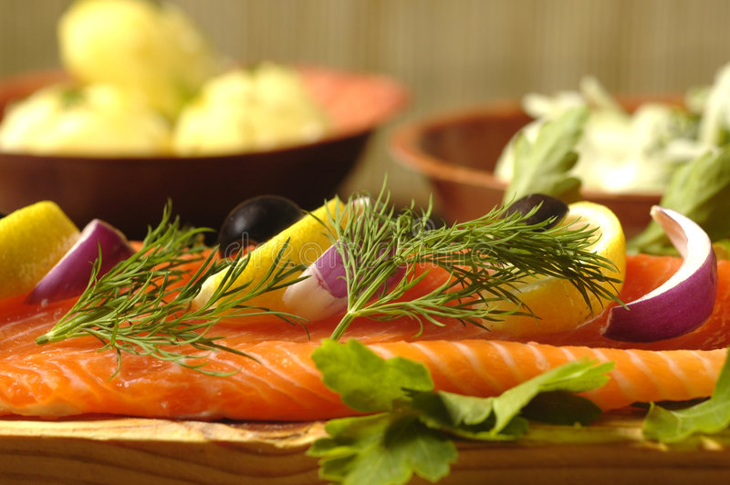 Salmon Dish with Boiled Potatoes stock image