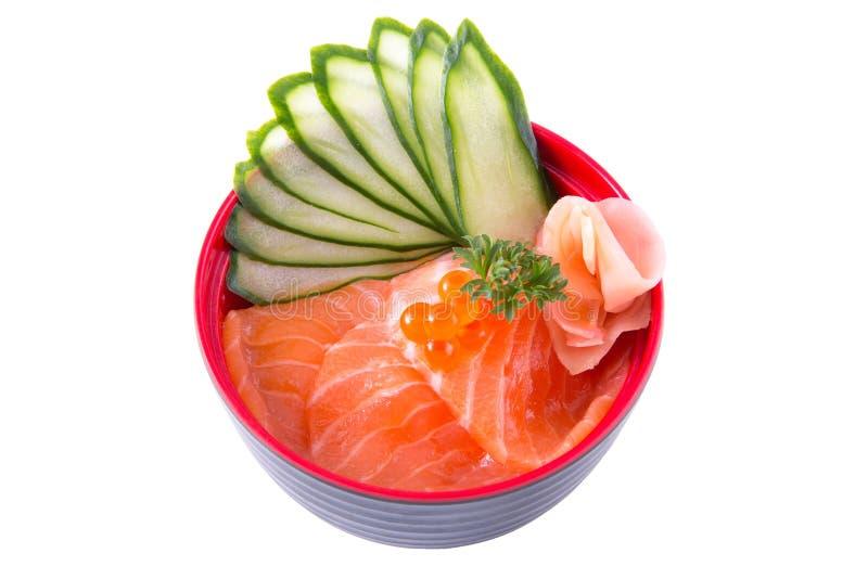 Salmon donburi. Raw salmon and ikura on rice, called sake donburi in Japanese food isolated on white background stock images