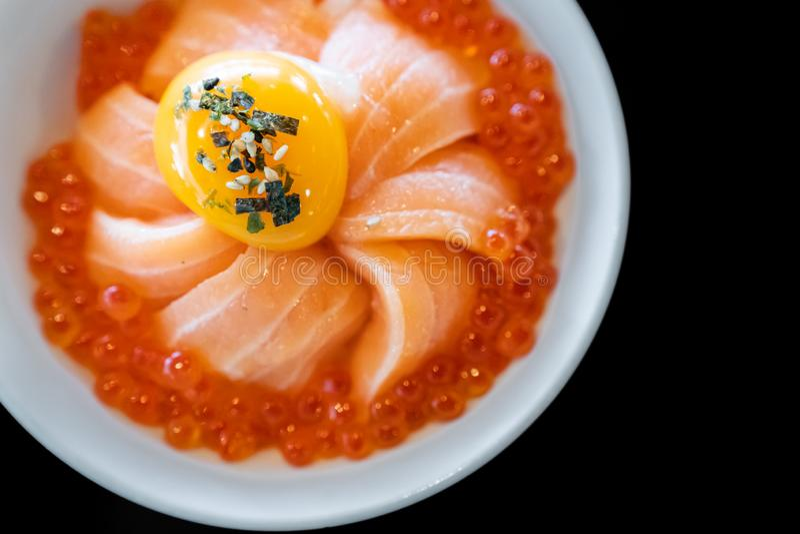 Salmon Donburi. With salmon roe and egg royalty free stock photos