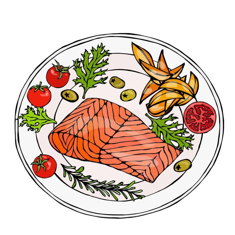 Salmon Filet auf einer Platte mit Kartoffel-Keilen, Tomaten und Kräutern Gebratener Fisch-Schnitt Meeresfrüchte-Logo Seerestauran stock abbildung