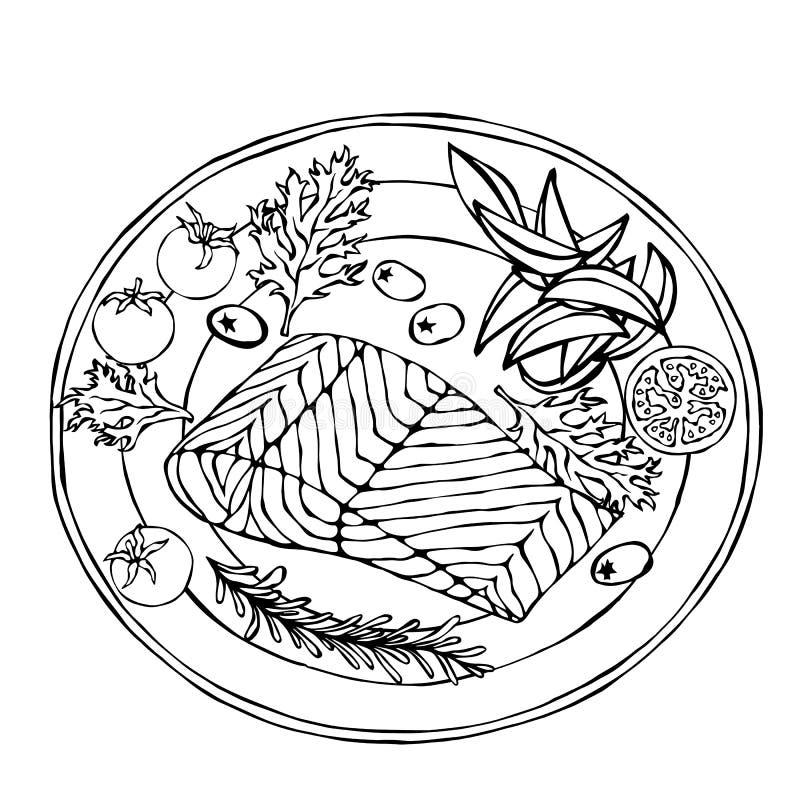 Salmon Filet auf einer Platte mit Kartoffel-Keilen, Tomaten und Kräutern Gebratener Fisch-Schnitt Meeresfrüchte-Logo Seerestauran lizenzfreie abbildung