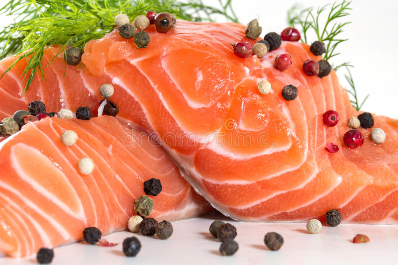 Salmon fillet with dill stock images