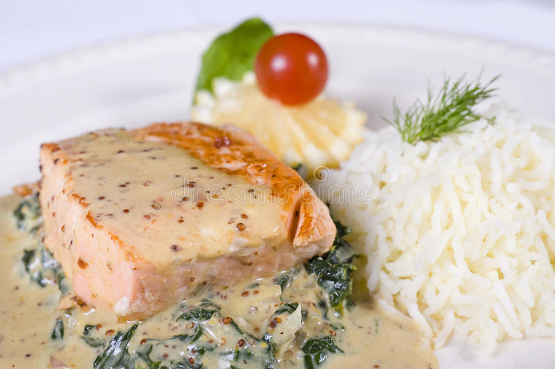 Salmon fillet a la carte meal stock photos