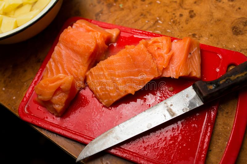 Salmon fillet on the table. royalty free stock photography