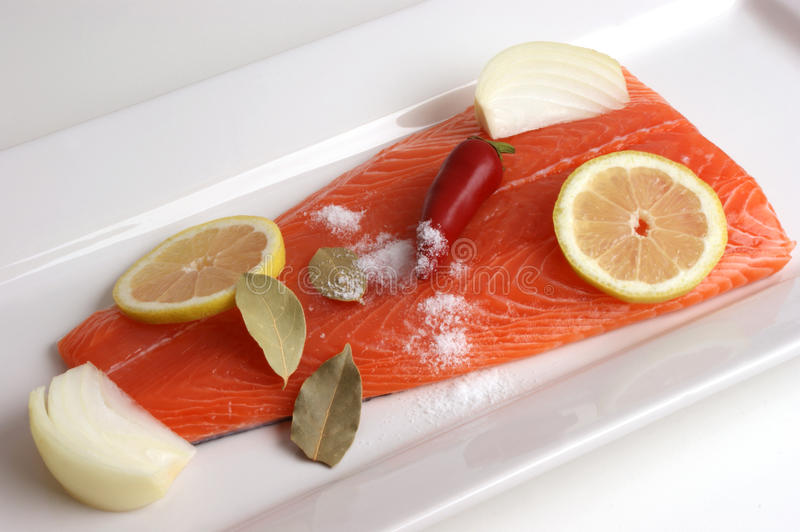 Salmon fillet on a white plate i royalty free stock photo