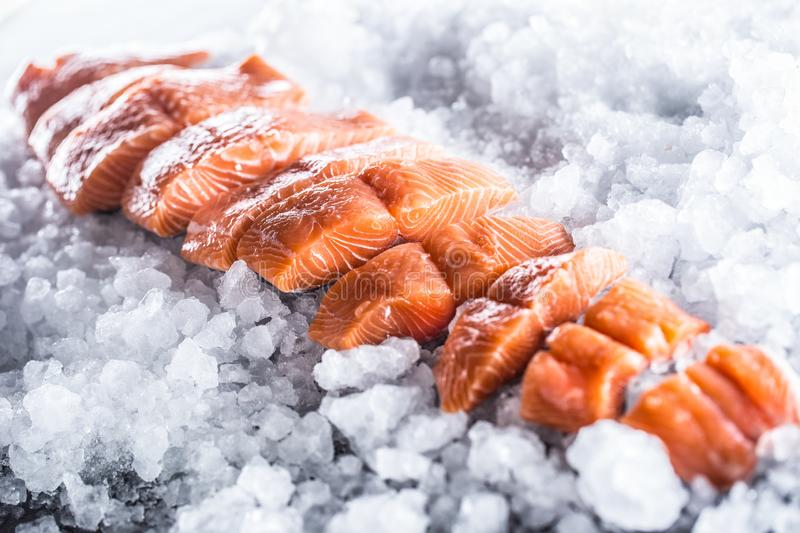 Salmon fillets portioned on ice and empty kitchen board.  stock images