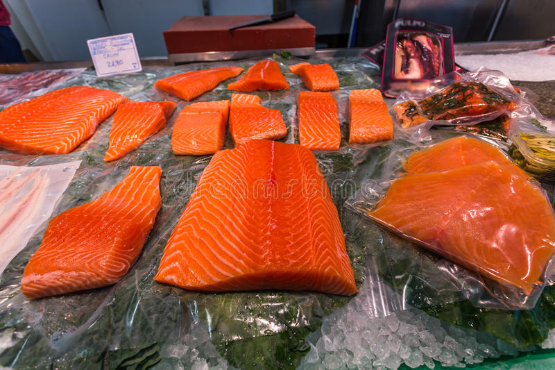 Salmon fillets. Placed on ice to keep them fresh on the market stock photos