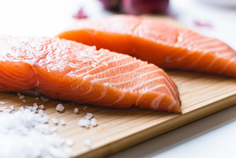 Salmon fillets Salt royalty free stock photo