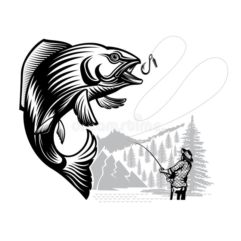 Salmon fish bend with fisher and landscape in engrving style. Logo for fishing, championship and sport club on white vector illustration