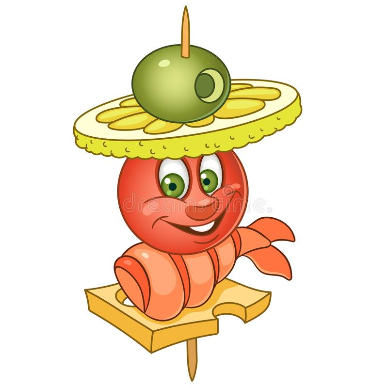 Cartoon canape with seafood vector illustration