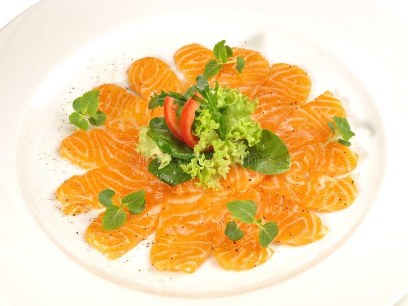 Salmon Fish Carpaccio com pimenta imagens de stock royalty free