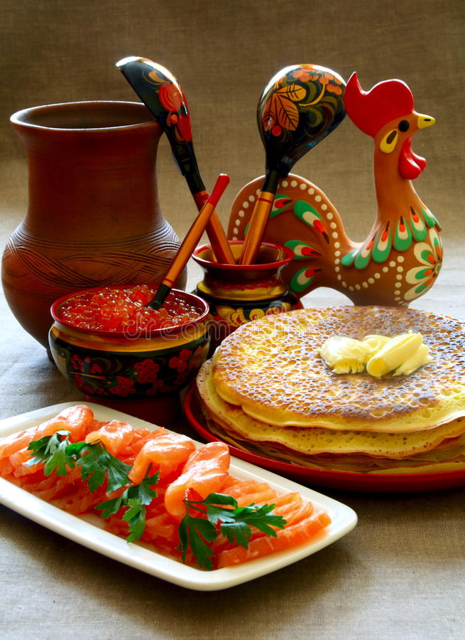 Download Salmon Fish And Caviar With Pancakes. Stock Image - Image: 17073759