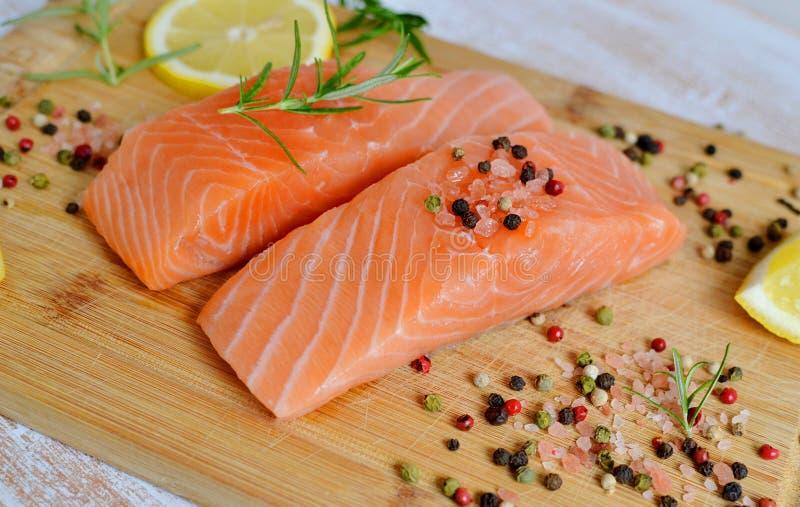 Salmon Fish Cooking foto de archivo libre de regalías