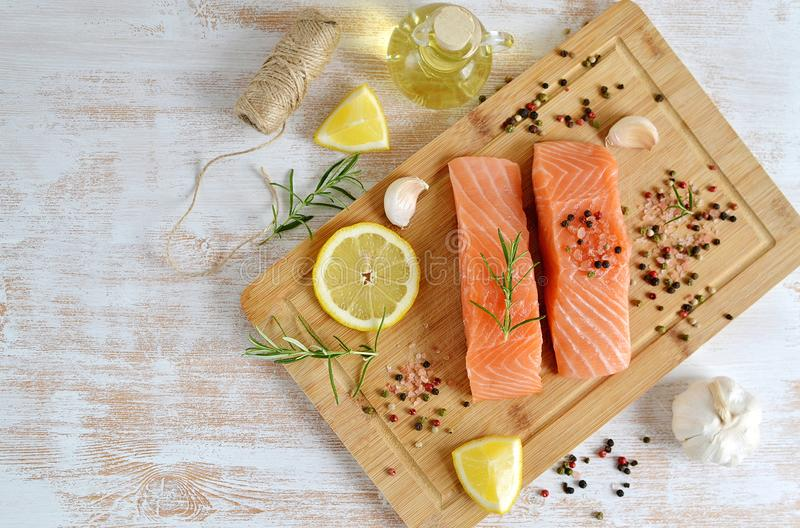 Salmon Fish Cooking image stock
