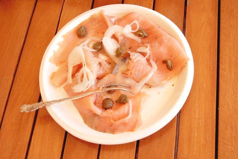 Salmon fish platter royalty free stock images
