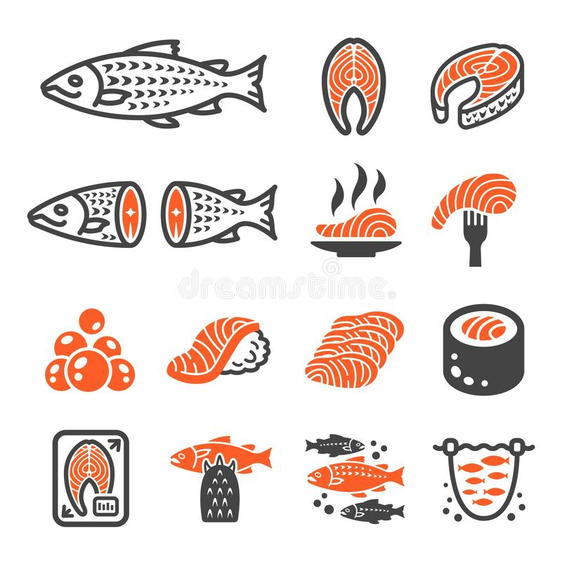 Salmon fish and product icon set. Vector and illustration royalty free illustration