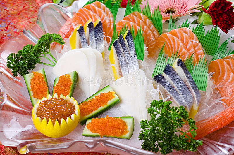 Salmon fish sashimi. Delicious food of salmon sashimi platter stock image