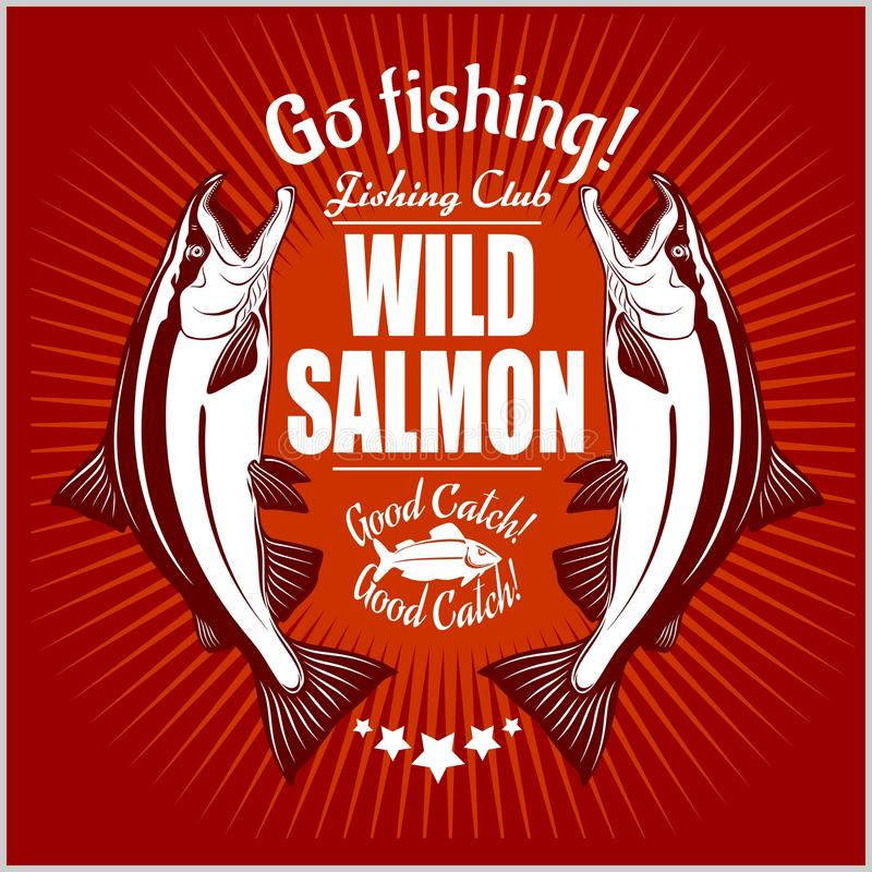 Salmon fish. Vintage Salmon Fishing emblems, labels and design elements. Vector illustration on red. vector illustration