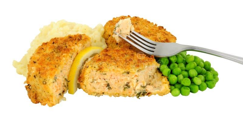 Salmon Fishcake And Mashed Potato mål royaltyfria bilder