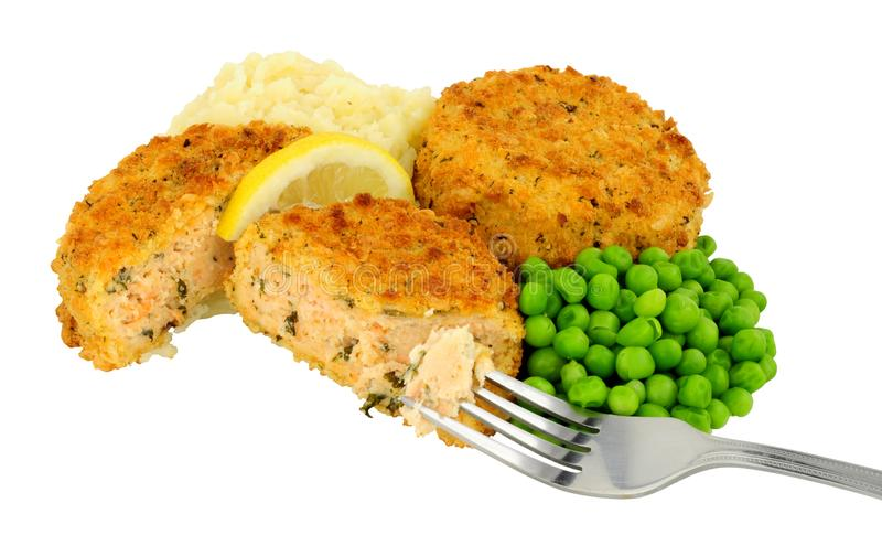 Salmon Fishcake And Mashed Potato mål royaltyfri fotografi