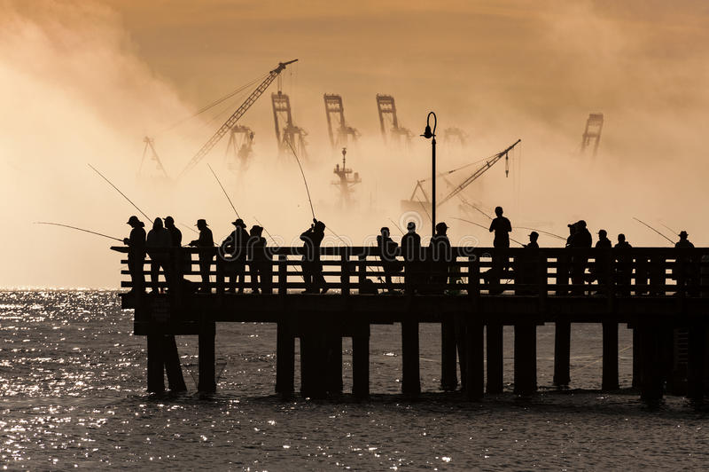 Salmon Fishermen op Elliott Bay in Seattle, Washington stock foto's