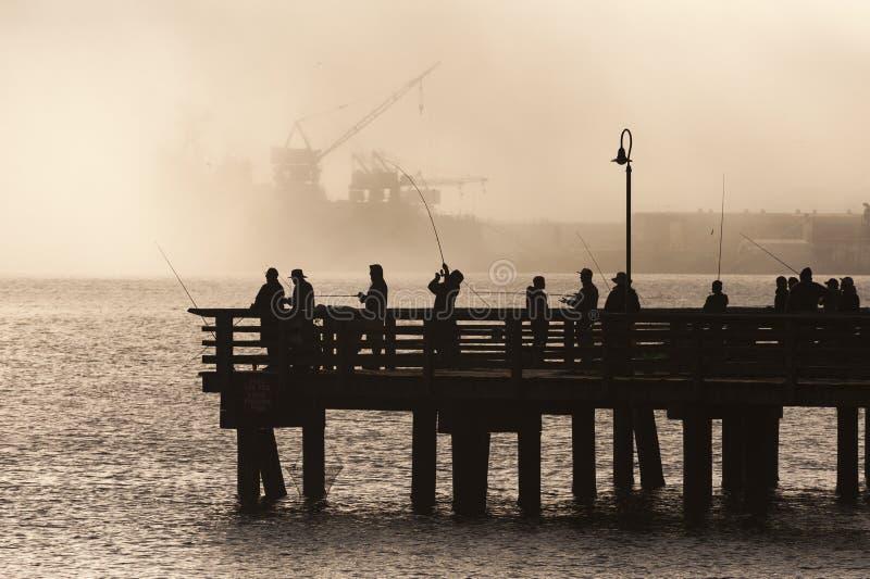 Salmon Fishermen op Elliott Bay in Seattle, Washington stock foto