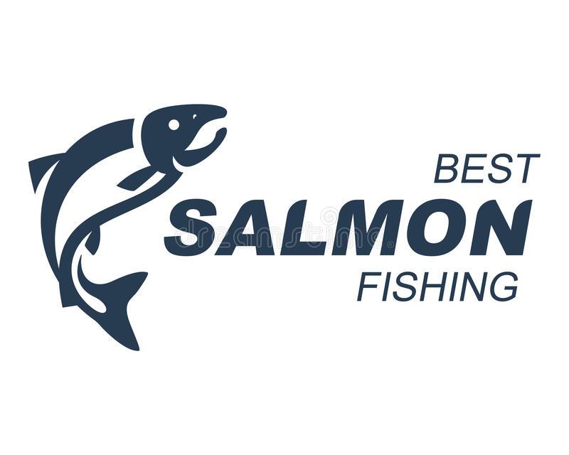 Salmon Fishing-Emblemvektorillustration stock abbildung