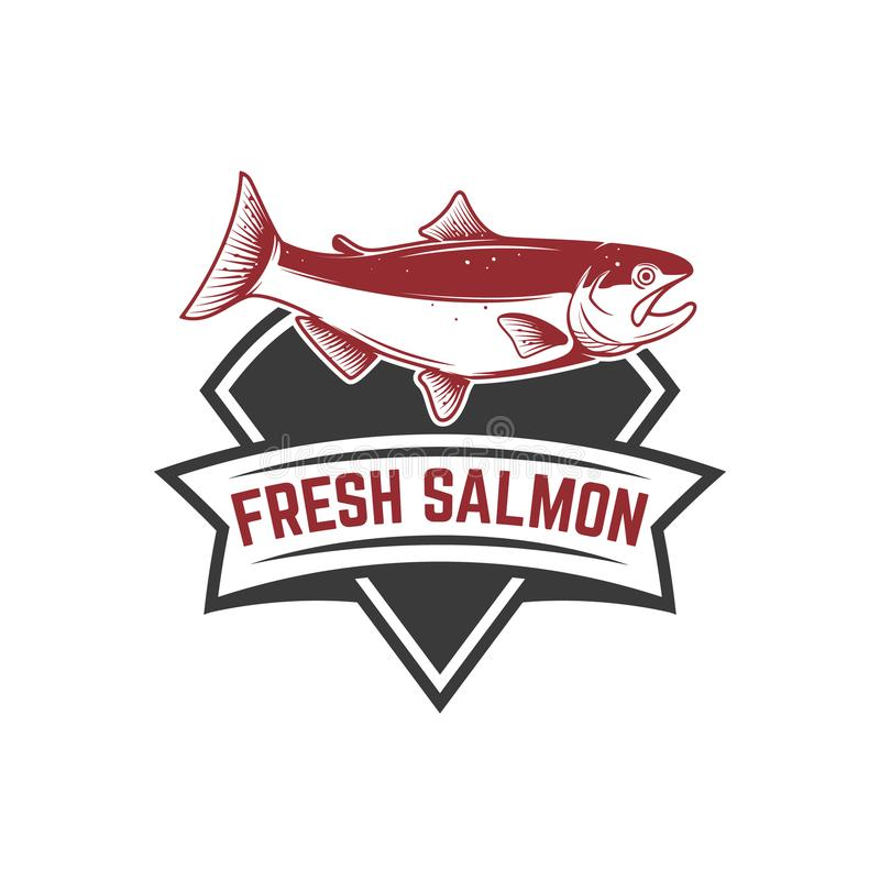 Salmon fishing. Salmon on background with mountains. Design element for logo, label, emblem, sign. stock illustration