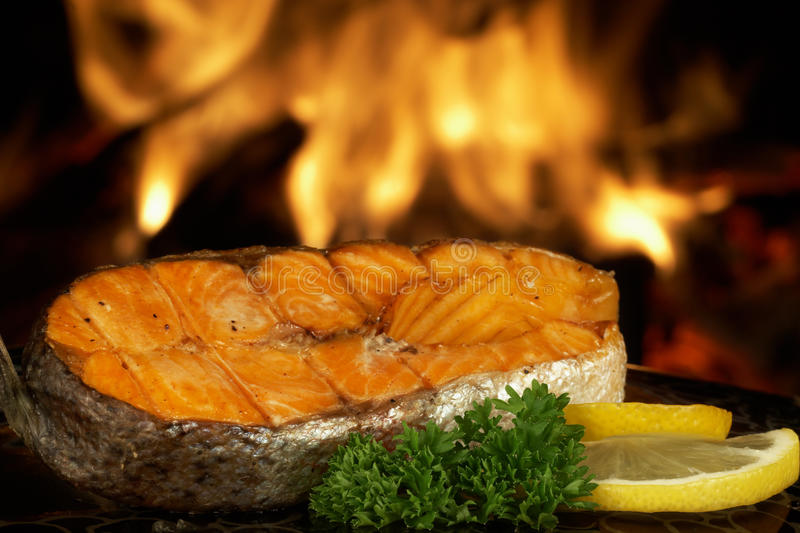 Salmon grill stock photography