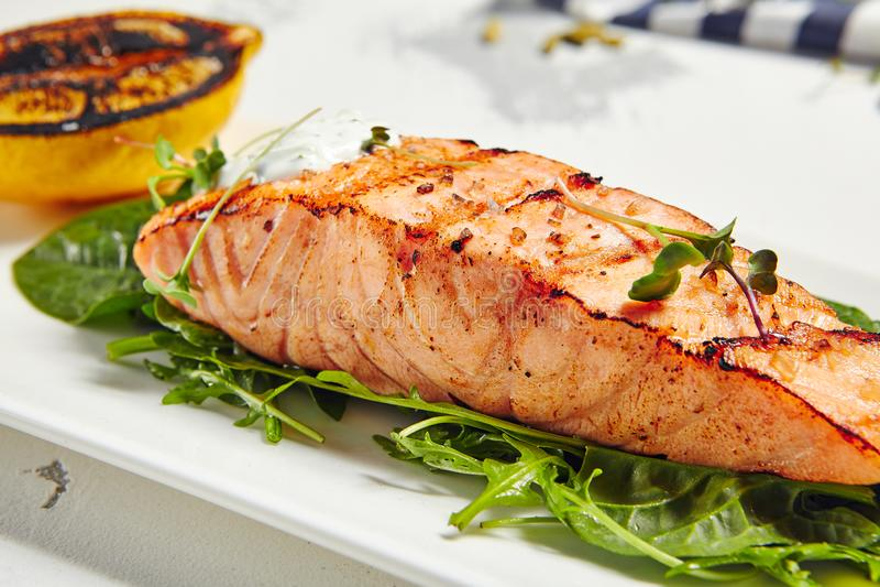 Salmon Grill Steak royalty free stock photos