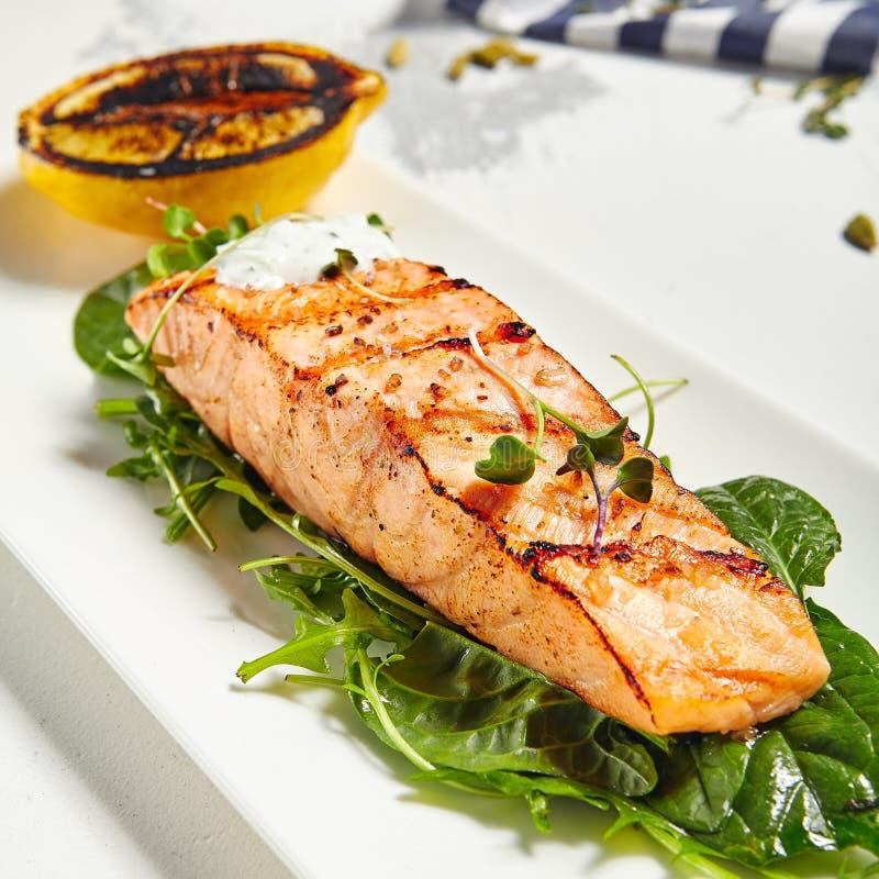 Salmon Grill Steak royalty free stock image