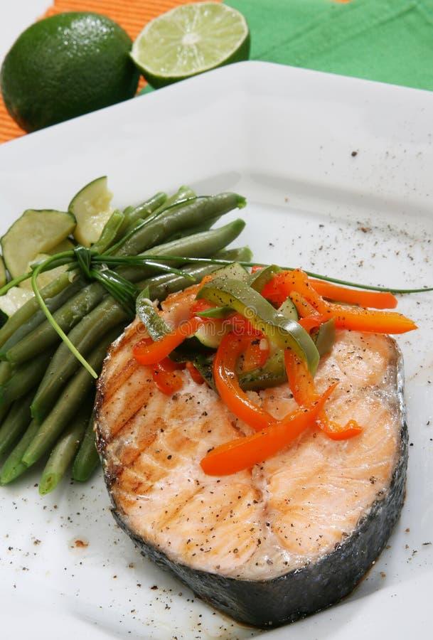 Salmon grilled stock photos