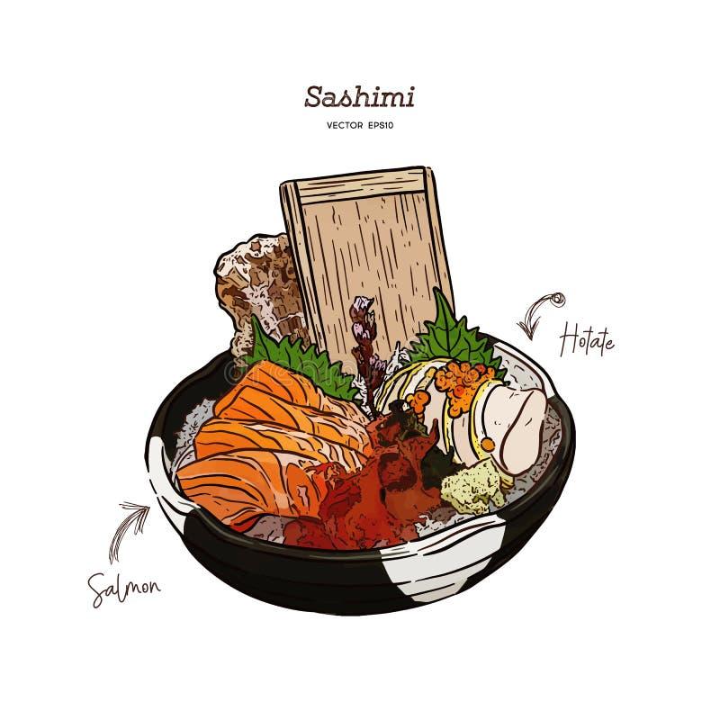Salmon and Hotate Sashimi, hand draw sketch vector. Salmon and Hotate Sashimi, serve in big Bowl with iced and seaweed. hand draw sketch vector. Japanese food stock illustration