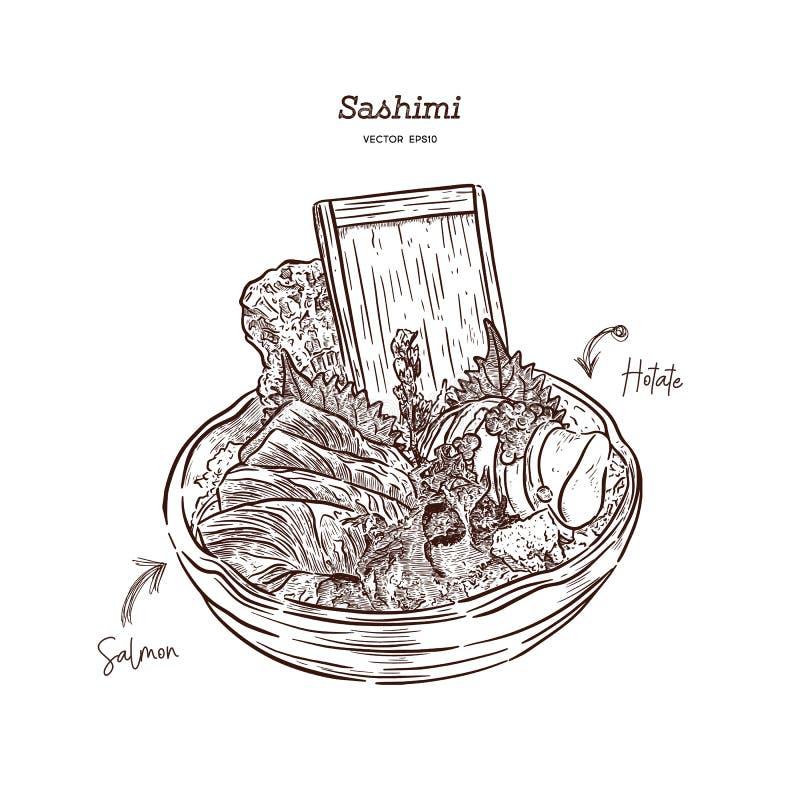 Salmon and Hotate Sashimi, hand draw sketch vector. Salmon and Hotate Sashimi, serve in big Bowl with iced and seaweed. hand draw sketch vector. Japanese food royalty free illustration