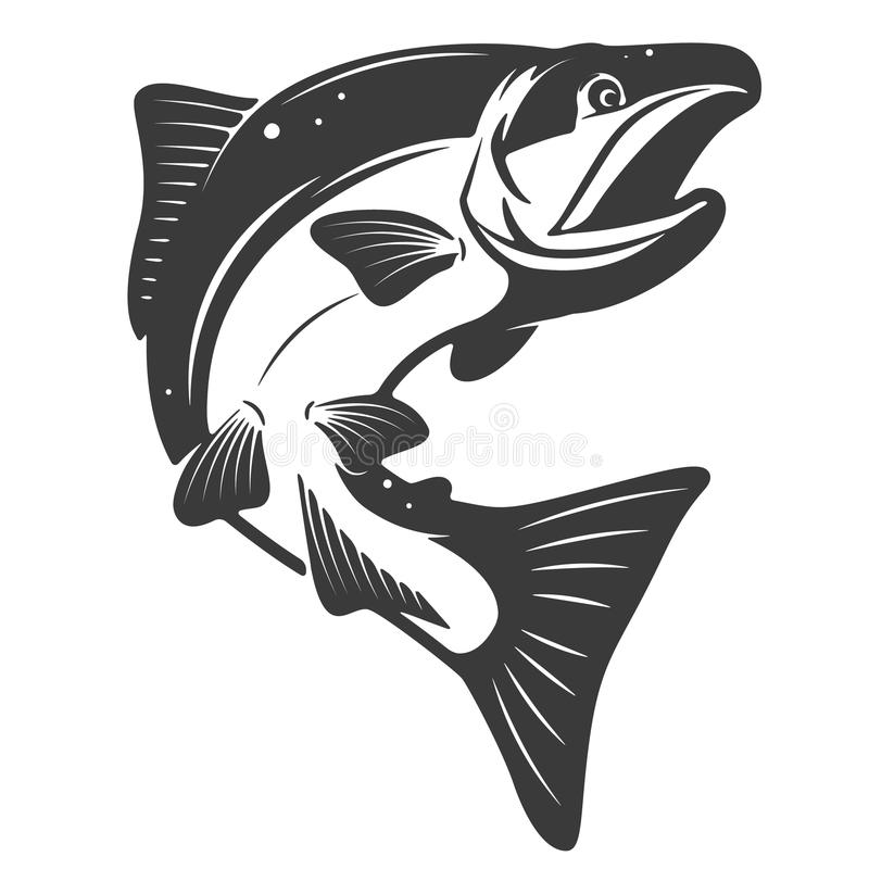 Salmon icon isolated on white background. Seafood. Design elements for menu, poster, emblem, sign. Vector monochrome illustration vector illustration