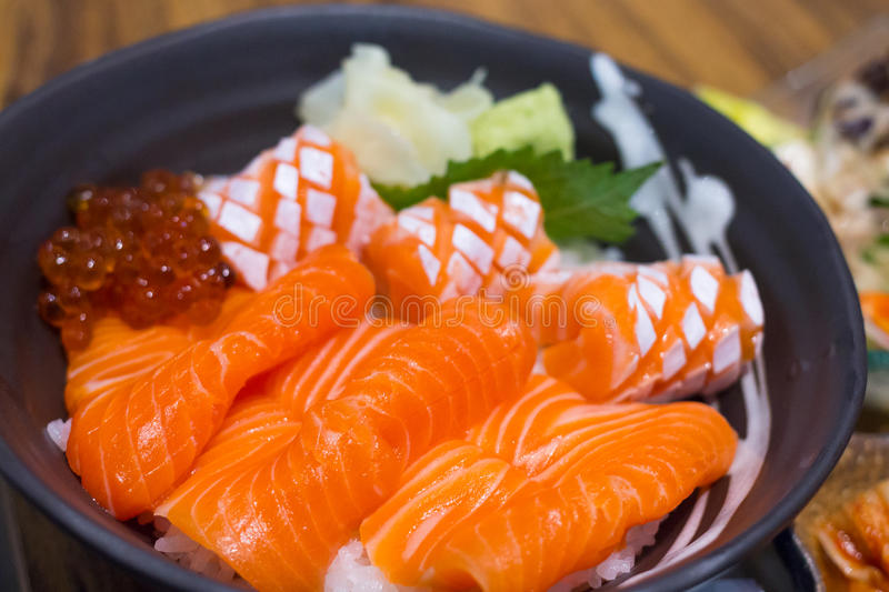 Salmon and ikura don, japanese food very delicious royalty free stock photo