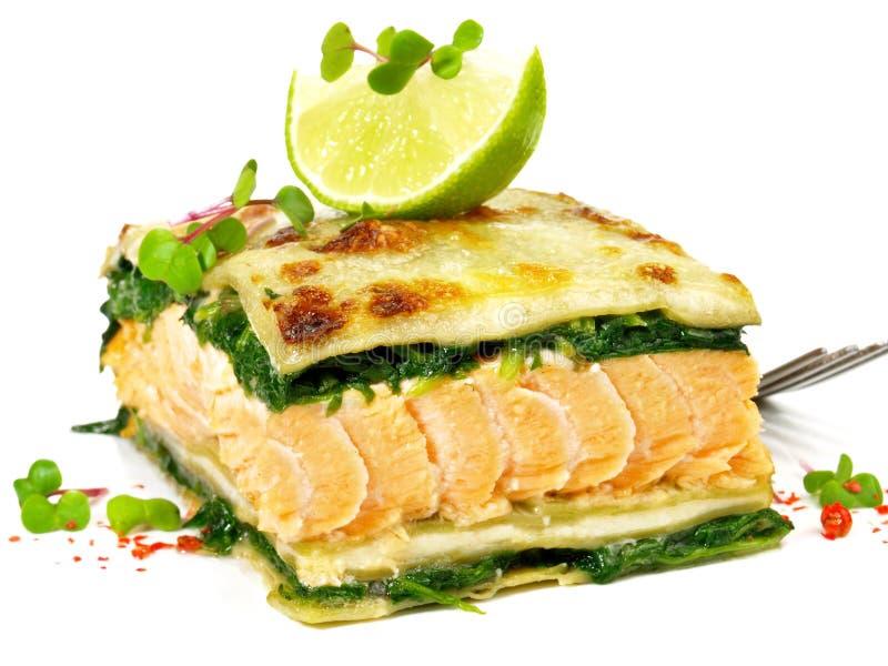 Salmon Lasagne - lasaña de los pescados imágenes de archivo libres de regalías