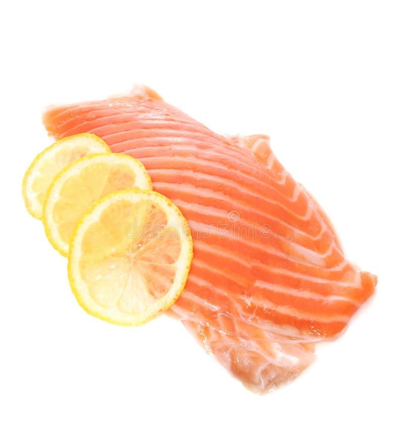 Salmon with Lemon Slices stock photo