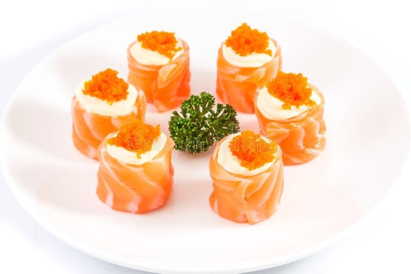 Salmon maki roll royalty free stock photos