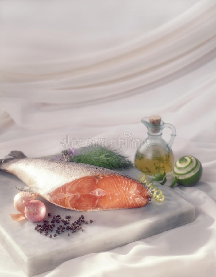 Salmon Meat. Salmon Sliced with spice ingredients royalty free stock photo