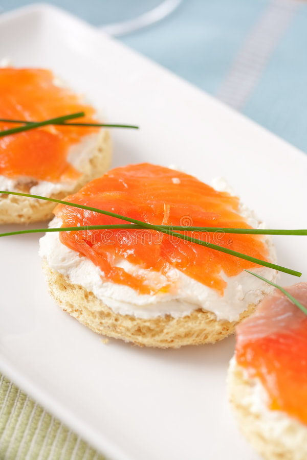 Salmon Mini Sandwich Royalty Free Stock Photo