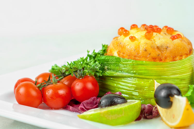 Download Salmon With Omelette And Philadelphia Cheese Stock Image - Image: 19130661