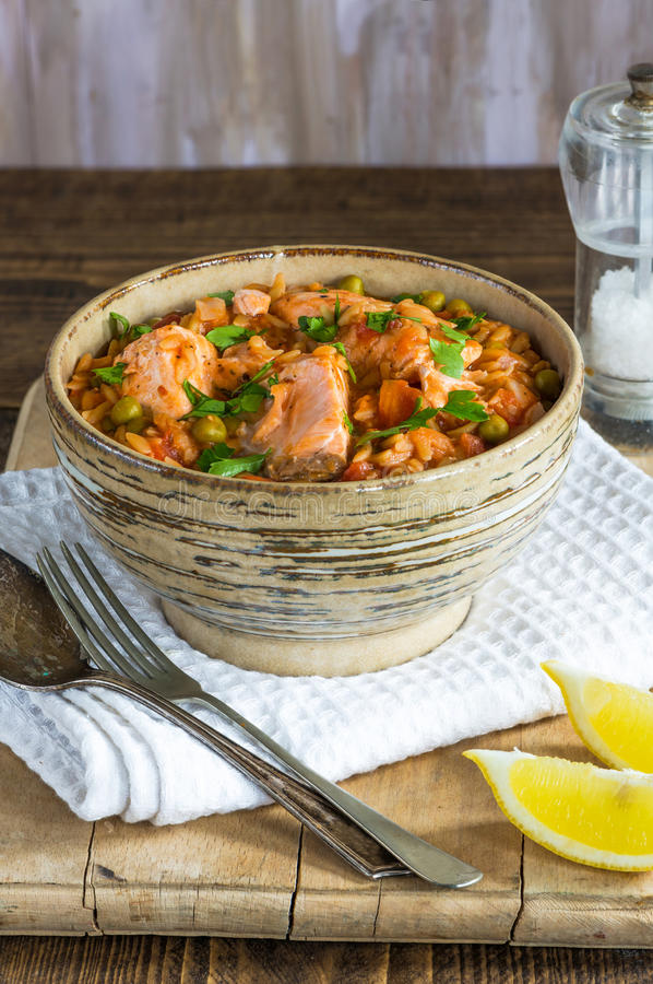 Salmon and orzo stew stock photography