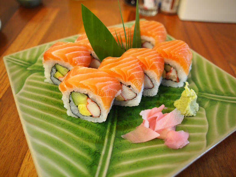 Salmon outside roll sushi. Japanese food royalty free stock photography