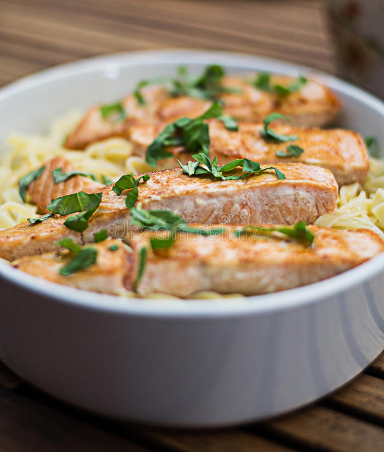 Salmon and Pasta royalty free stock images