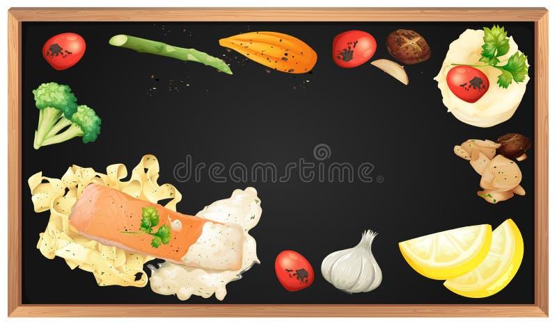 Salmon Pasta und Element auf Tafel vektor abbildung