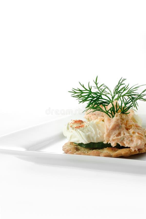 Download Salmon Pate Canape fumé photo stock. Image du apéritif - 45355556