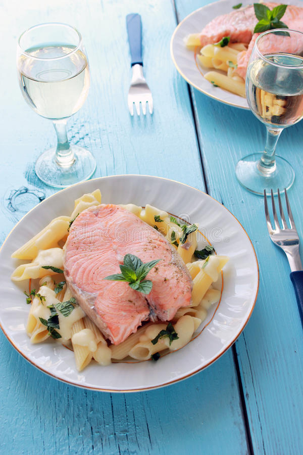 Salmon and penne