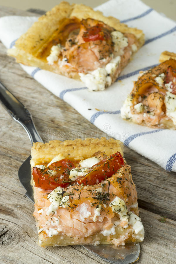Salmon Pizza immagine stock