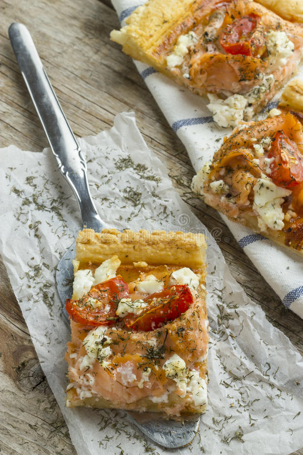 Salmon Pizza fotografia stock